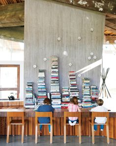 love the books stacked breakfast bar