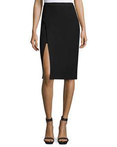 Asymmetric+Slit+Pencil+Skirt,+Black+by+BCBGMAXAZRIA+at+Neiman+Marcus+Last+Call.