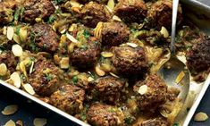 Yotam Ottolenghi's recipes for baked meatballs with burnt aubergine, plus lentil, bulgur and aubergine pilaf