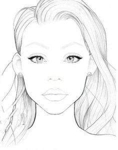 Messenger Face Template Makeup, Business Hairstyles, Mac Face Charts, Makeup Face Charts,
