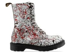 Dr. Martens 10 Eye Boot in White Black Cherry Red Splatter at Solestruck.com