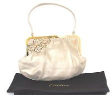 CARTIER ORCHIDS EVENING BAG PURSE GOLD SUEDE CORAL RARE STUNNING!!!