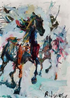 Large modern abstract horse painting depicting several ...