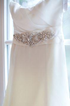 "Beaded belt detail on Amsale ""Harlow"" dress"