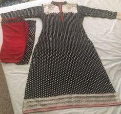 Kameez Polka Dot black white & red Black White Red, Pakistani Dresses, Stylish Dresses, Polka Dots, Indian, Sweaters, Fashion, Moda, Dressy Dresses