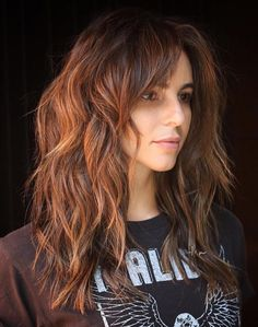 Long Layered Copper Brown Cut for Thick Hair The post 60 Lovely Long Shag Haircuts for Effortless Stylish Looks appeared first on Hair Styles. Long Shag Hairstyles, Long Shag Haircut, Long Layered Haircuts, Haircut For Thick Hair, Hairstyles With Bangs, Thick Hair Bangs, Thick Haircuts, Medium Hairstyles, Haircut For Chubby Face