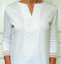 Transform a crewneck tee into a lace trimmed top.