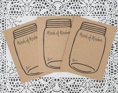 Words of Wisdom Cards - Mason Jar - Wedding Advice Card - Kraft Brown - Baby or Bridal Shower Game - Wedding Notes - Marriage Advice