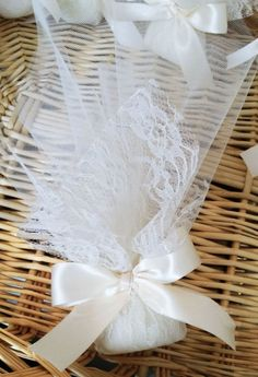 Lace wedding favors made in Greece Romantic Wedding Favours, Vintage Wedding Favors, Wedding Gifts For Guests, Wedding Candy, Diy Wedding Favors, Tulle Wedding, Handmade Wedding, Wedding Themes, Wedding Decoration