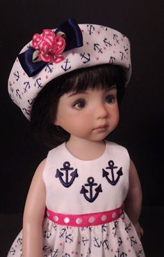 """Summer Sailor Dress and Hat fits 13"""" Little Darling by Dianna Effner"""