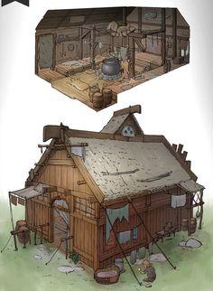 The Hut by whiteoxygen.devia… on The Hut par whiteoxygen. Fantasy City, Fantasy House, Fantasy Places, Fantasy Map, Fantasy World, Medieval Fantasy, Building Concept, Building Art, Bg Design