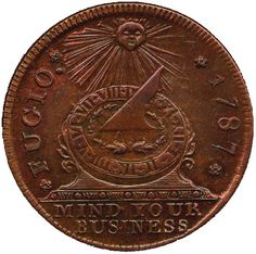 Fugio Cent, the First US penny, inspired by Benjamin Franklin ~ History Pics Collections D'objets, Rare Pennies, Us Penny, The Frankenstein, Valuable Coins, American Coins, One Coin, Mint Coins, Gold And Silver Coins