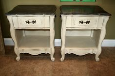 Set of end tables painted Old Orche and Graphite ASCP.