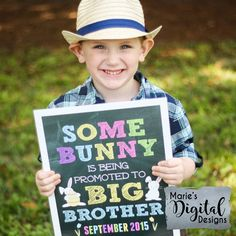 This affordable Easter printable pregnancy announcement photo prop is the perfect way for your little man to share the big news that he's going to be a big brother! Printable Chalkboard Pregnancy Announcement by Marie's Digital Designs / Some Bunny Is Being Promoted To Big Brother / Spring Baby Reveal