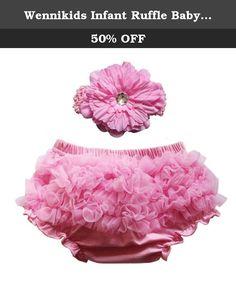 Wennikids Infant Ruffle Baby Bloomer+ Flower Headband Set Kid Suit (S(0-6M), Pink). Material:Cotton+Chiffon Ruffles Comes in 3 Sizes,0-6M,6-12M and 12-24M Elastic Waistband With Peony Flower Headband 4x15cm Flower Size:12cm diameter.