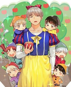 In this video Taehyung was so done because he had to be dressed up as snow White but the rest of bagtan where all so happy
