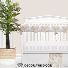 White and natural macrame crib skirt is perfect to give the nursery a complete look. It also hides all your not-so-cute baby necessities with ease! Baby Bump Bedding crib skirts are different than any other! Choose from different skirt styles (straight, gathered, box pleat, straight with trim, etc) and build your crib skirt to fit your particular crib. Only need 1 (3, or 4) side? Buy the panels you need and stay in budget! BBB baby bedding crib skirts custom and cute as can be! Build Your Own C Custom Baby Bedding, Baby Girl Crib Bedding, Girl Cribs, Baby Bedding Sets, Baby Cribs, Nursery Curtains, Nursery Bedding, Thing 1, Crib Skirts