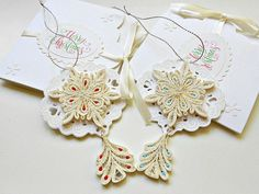 Set of 2 Christmas ornament-Christmas card-quilled