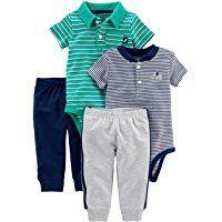 and Pant Set Pants Set Top Simple Joys by Carters Baby-Boys 4-Piece Bodysuit