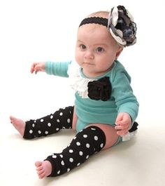 Teal baby girls outfit with black flowers and white ruffles...custom order.