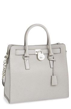 Oh, this is gorgeous! Crushing on this pearl grey Michael Kors leather tote.