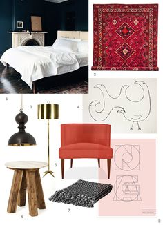 Adore pretty much everything about this inspiration board. Love the bold red.