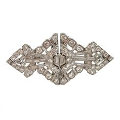 Art Deco Diamond Double Clips | From a unique collection of vintage brooches at https://www.1stdibs.com/jewelry/brooches/brooches/