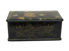 Antique Sewing Thread Box.  Black Lacquered Box with French