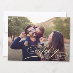 Big photo card with gold elegant calligraphy overlay and 3 photos on the back. Merry Christmas Calligraphy, Merry Christmas Card, Holiday Cards, Most Beautiful Pictures, Cool Pictures, Gold Calligraphy, Multi Photo, Big Photo, Creative Icon