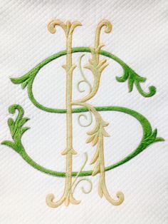 """Matouk Diamond Pique coverlet 10"""" monogram @bestmonogram.com"""