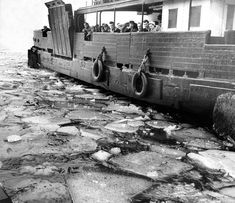 Broken ice washes down the river Tyne during the thaw in March 1963 and floats around the hull of the Shields ferry The big freeze, 1963 - Birmingham Live Big Freeze, Down The River, Birmingham, Vintage Photos, Past, Nostalgia, Frozen, Live, Childhood Memories