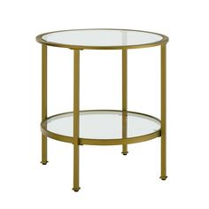 Stylish and modern, the Aimee Side Table is an eye-catching addition to any home. With a sturdy yet sleek steel frame, this side table can be paired with a variety of decor. The Aimee Side Tables tempered glass top and shelf create an inviting surfac Glass Top End Tables, End Tables With Storage, Entertainment Center, Glass Shelves In Bathroom, Ikea, Tempered Glass Shelves, Round Side Table, Gold Glass, Design