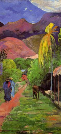 """Paul Gauguin - Road in Tahiti, by post-impressioniw everything around it.the equivalent of the grandeur, depth, and mystery of Tahiti when it must be expressed in one square meter of canvas"""". Paul Gauguin, Henri Matisse, Henri Rousseau, Gauguin Tahiti, Kunst Online, Impressionist Artists, Art Moderne, Love Art, Art Photography"""