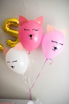 Kitty cat balloons from a Kitty Cat Birthday Party on Kara's Party Ideas Party Animals, Animal Party, Cat Themed Parties, 6th Birthday Parties, Kitty Party Themes, 7th Birthday Party Ideas, 8th Birthday, Happy Birthday, Ballon Party