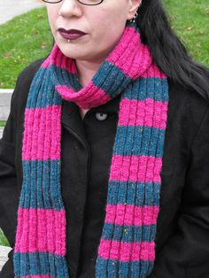 Pink and Blue Striped Knitted Scarf by Craftzillaconquers on Etsy, $25.00