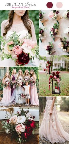 Burgundy and Blush Boho Fall Wedding Color Combos Find your perfect palette at www.pinterest.com/laurenweds/wedding-decor?utm_content=buffer7556f&utm_medium=social&utm_source=pinterest.com&utm_campaign=buffer