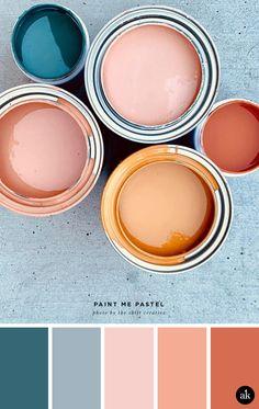 a pastel-paint-inspired color palette // blush salmon (pink) orange indigo blue . - a pastel-paint-inspired color palette // blush salmon (pink) orange indigo blue // photo by Shift C - Colour Pallette, Color Combos, Neutral Palette, Orange Palette, Exterior Color Palette, Warm Color Palettes, House Color Palettes, Paint Color Palettes, Pastel Colour Palette