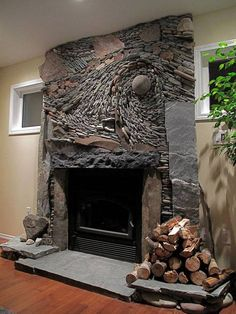 Fireplaces @ Ancient Art of Stone Mosaic stone wall art Fireplace Art, Fireplace Design, Stone Fireplaces, River Rock Fireplaces, Old Wall, Stone Mosaic, Stone Work, Ancient Art, Home Design