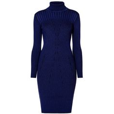 Rumour London - Cleo Blue Two-Tone Ribbed Knit Dress (6 800 UAH) ❤ liked on Polyvore featuring dresses, midnight blue dress, blue day dress, geometric pattern dress, two-tone dress and textured dress