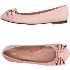 Red(v) Ballet Flats (1.150 BRL) ❤ liked on Polyvore featuring shoes, flats, pink, pastel pink, pink ballet shoes, red flat shoes, red leather flats, flat shoes and ballet flats