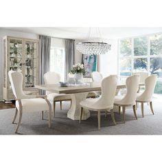 Available online only. The Santa Barbara Round Dining Table is a simple but elegant dining table that will surely stun the guests in your home. Elegant Dining Room, New Furniture, Dining Room Design, Elegant Dining, Dining Room Chairs Upholstered, Dining Chairs, Rectangular Dining Table, Dining Room Table Decor, Living Room Furniture