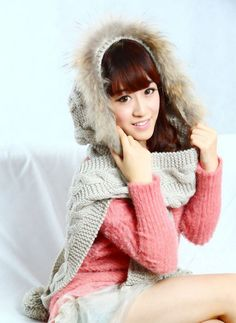 Hand Knit Hat hooded scarf Cable Scarf Hat Winter Accessories