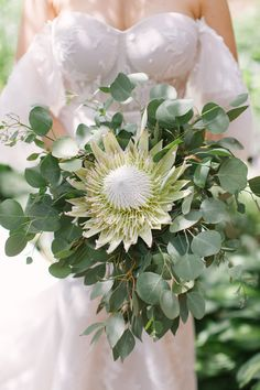 This outdoor summer wedding in the woods in Wisconsin filled with greenery is making us beam with glee over the large geometric floral chandeliers, greenery runners and glass vessels hanging from the greenhouse-like clear tent! Protea Wedding, Boho Wedding Bouquet, Winter Wedding Flowers, Bridesmaid Bouquet, Exotic Wedding, Timeless Wedding, The Wedding Date, Wedding In The Woods, Modern Flower Arrangements