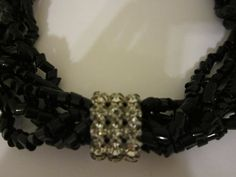 Vintage Jet Black Bead Strand Necklace by SweetJennsVtgJewelry, $75.00