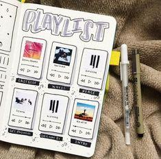 Playlist-Buch - a bullet journal - Bullet Journal 2020, Bullet Journal Notebook, Bullet Journal Aesthetic, Bullet Journal Spread, Bullet Journal Layout, Bullet Journal Ideas Pages, Bullet Journal Inspiration, Scrapbook Journal, Drawings