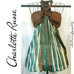 Charlotte Russe Halter Top Halter top with ballooned bottom. Size medium. Charlotte Russe Tops Blouses