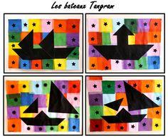 Les bateaux Tangram et surtout les fonds en quadrillages de papier de soie