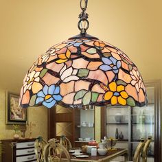 BYB Tiffany Style Stained Glass Hanging Pendant Ceiling Lamp Chandelier Glass
