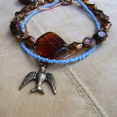 Three Strand Copper Turquoise Amber Glass by MoonlightAndFire, $33.00