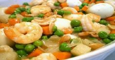 Shrimps with Quail Eggs and Green Peas